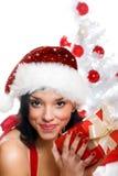 Mujer sonriente de la Navidad Fotos de archivo libres de regalías