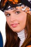 Mujer sonriente del Snowboard Imagenes de archivo