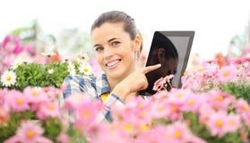Mujer sonriente en el jardín de la pantalla táctil de las margaritas de las flores de la tableta digital, del concepto de la prim imagen de archivo libre de regalías