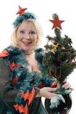 Mujer sonriente en el traje del árbol de navidad imagen de archivo libre de regalías