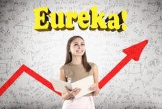 Mujer sonriente, Eureka, gráfico rojo fotografía de archivo libre de regalías