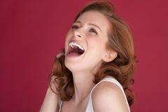 Mujer sonriente feliz Imagen de archivo libre de regalías