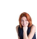 Mujer sonriente feliz con el pelo rojo Imagen de archivo libre de regalías