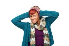 Mujer sonriente feliz del afroamericano Imágenes de archivo libres de regalías