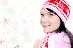Mujer sonriente feliz encendido con el copo de nieve que cae Fotografía de archivo