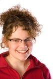 Mujer sonriente hermosa con las lentes Imagenes de archivo
