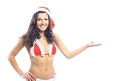 Mujer sonriente hermosa de santa de la Navidad Fotografía de archivo libre de regalías