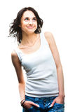 Mujer sonriente joven atractiva en blanco Fotografía de archivo libre de regalías