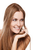 Mujer sonriente joven con el pelo largo recto Imágenes de archivo libres de regalías