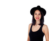 Mujer sonriente joven con ropa negra Foto de archivo libre de regalías