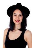 Mujer sonriente joven con ropa negra Fotografía de archivo libre de regalías