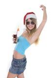 Mujer sonriente joven en el sombrero de santa Fotos de archivo libres de regalías