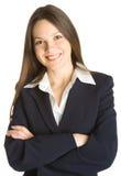 Mujer sonriente joven en un juego de asunto Imagen de archivo