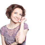 Mujer sonriente joven hermosa Imagen de archivo libre de regalías