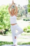 Mujer sonriente que hace sus ejercicios de la yoga Fotografía de archivo libre de regalías