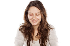 Mujer sonriente sin maquillaje Fotografía de archivo
