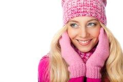 Mujer sonriente sobre blanco Imagen de archivo libre de regalías