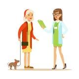 Mujer sonriente y su pequeño perro en la clínica veterinaria Ejemplo colorido del personaje de dibujos animados Foto de archivo libre de regalías