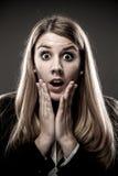 Mujer sorprendida Imagen de archivo