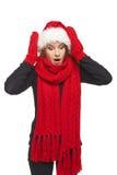 Mujer sorprendida de Navidad Fotografía de archivo libre de regalías