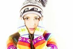 Mujer sorprendida del invierno Fotos de archivo libres de regalías
