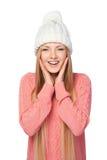 Mujer sorprendida del invierno Fotos de archivo
