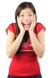 Mujer sorprendida feliz Fotos de archivo