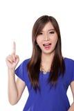 Mujer sorprendida que destaca el finger Fotos de archivo