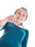 Mujer sorprendida que señala en algo Imágenes de archivo libres de regalías