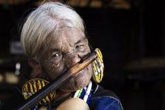 Mujer tatuada tribu de Chin (Daai) Fotos de archivo libres de regalías