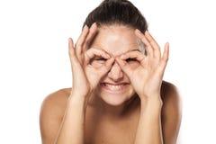 Mujer tonta sin maquillaje Fotos de archivo