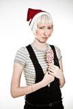 Mujer trastornada con el lollipop Fotografía de archivo libre de regalías