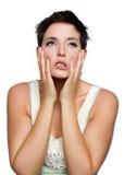 Mujer trastornada frustrada Fotos de archivo