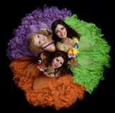 Mujer tres en traje del carnaval del color Foto de archivo libre de regalías