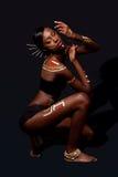 Mujer tribal de la belleza con maquillaje Imágenes de archivo libres de regalías