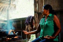 Mujer tribal del miembro del ticuna local que cocina pescados en su hogar de la selva tropical de la selva foto de archivo