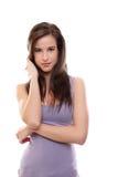 Mujer triguena atractiva aislada en blanco Imágenes de archivo libres de regalías