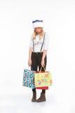Mujer triste en el sombrero de Papá Noel Fotos de archivo libres de regalías