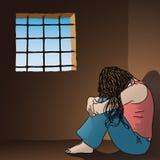Mujer triste en la prisi?n ilustración del vector