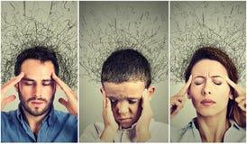 Mujer triste, hombre y niño con la expresión subrayada preocupante de la cara y cerebro que derrite en las líneas signos de inter Foto de archivo