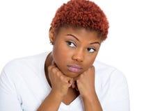 Mujer triste sin la motivación en vida Imagen de archivo