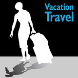 Mujer turística con su equipaje Imagen de archivo libre de regalías