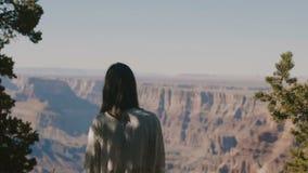 Mujer turística feliz joven de la visión trasera que mira el paisaje épico increíble de Grand Canyon en un día soleado caliente q almacen de metraje de vídeo