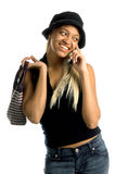 Mujer urbana del teléfono celular imagenes de archivo