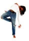 Mujer urbana negra hermosa del bailarín sobre blanco imagen de archivo