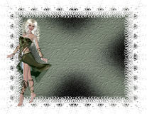 Mujer verde con el fondo Textured Fotografía de archivo