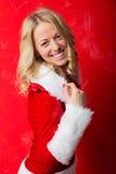 Mujer vestida como blanca como la nieve por Año Nuevo Imagen de archivo libre de regalías