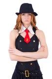 Mujer vestida como gángster aislado fotografía de archivo