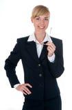 Mujer vestida en traje de negocios en estudio Fotos de archivo