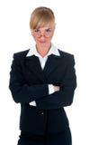 Mujer vestida en traje de negocios en estudio Fotografía de archivo